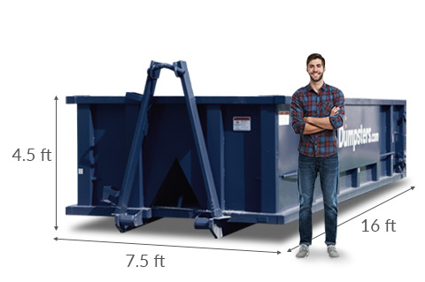 man standing in front of 20 yard dumpster with height, width and length dimensions