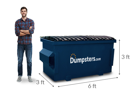 Man Standing Next to a 2 Yard Dumpster with Dumpsters.com Logo and Lines Showing Dimensions