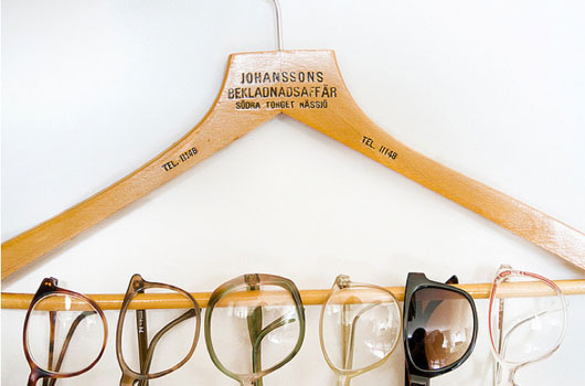 Reusing a hanger to hold sunglasses