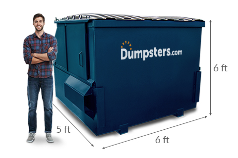 Man in a Flannel Shirt Standing In Front of a Blue 6 Yard Dumpster With Measurements Showing Dimensions