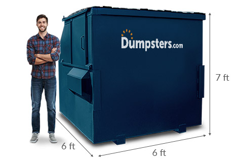 Man Standing Next to an 8 Yard Dumpster with Dumpsters.com Logo and Lines Showing Dimensions