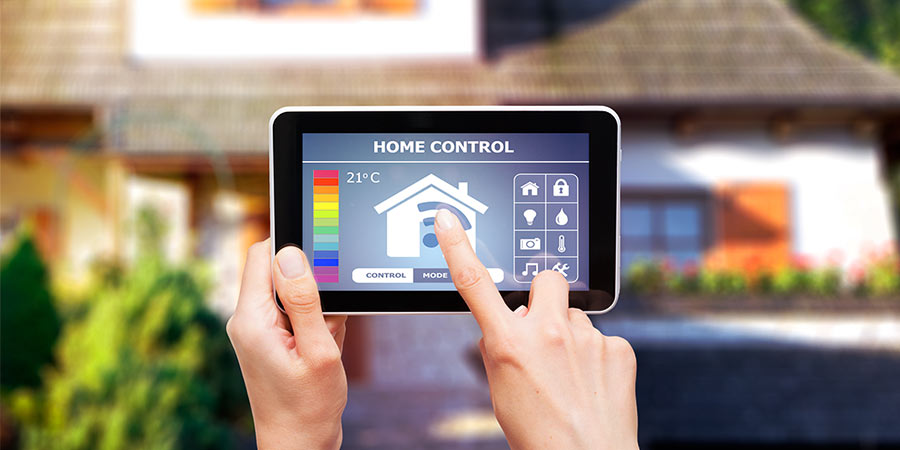 Smart Home Technology App Being Controlled on Handheld Tablet