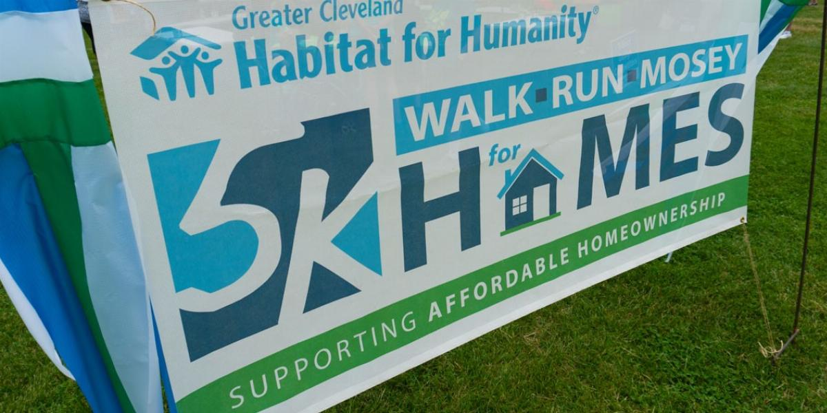 Cleveland Habitat for Humanity Walk Run Mosey Sign