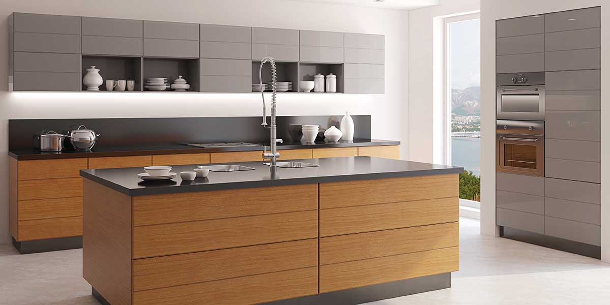A modern kitchen with a large kitchen island