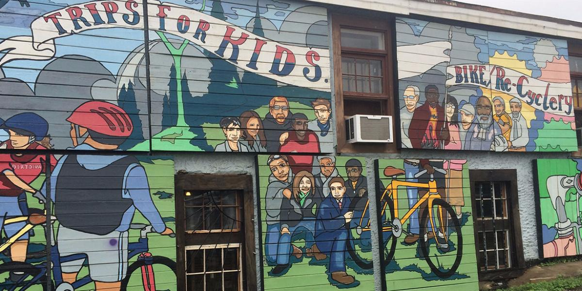 Trips for Kids bike recycling mural in Charlotte.