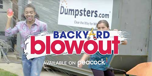 Kids throwing water balloons in front of Dumpsters.com dumpster.