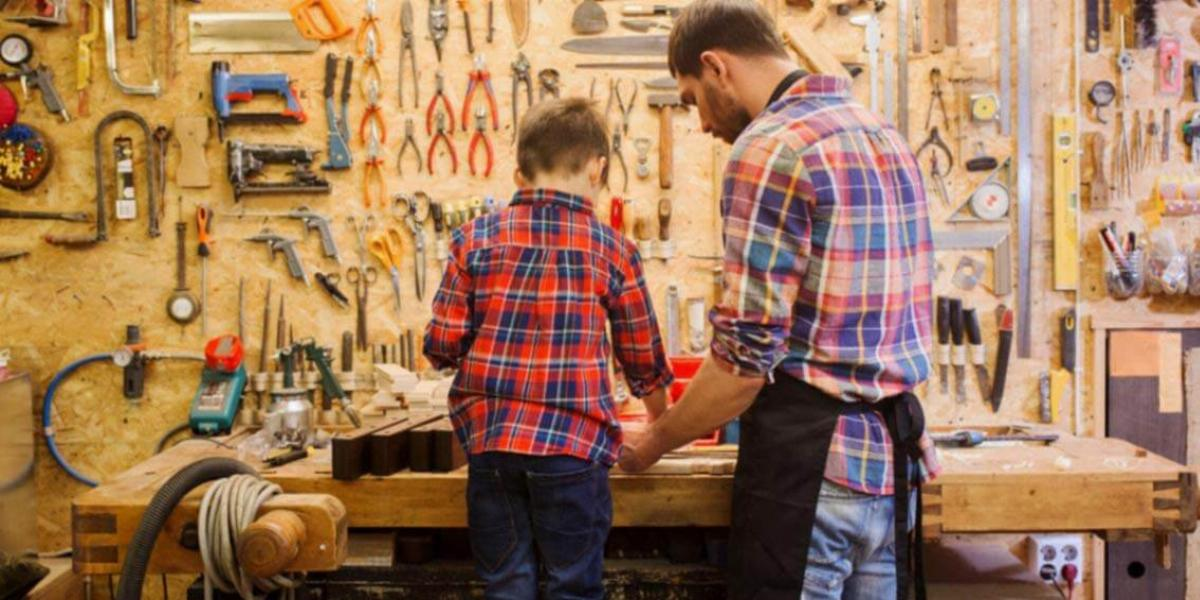 Dad and Son at Workbench