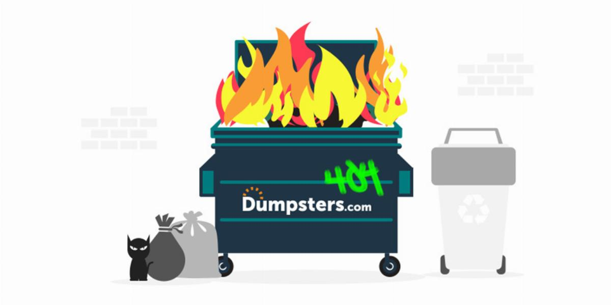 Dumpster fire 404 image.