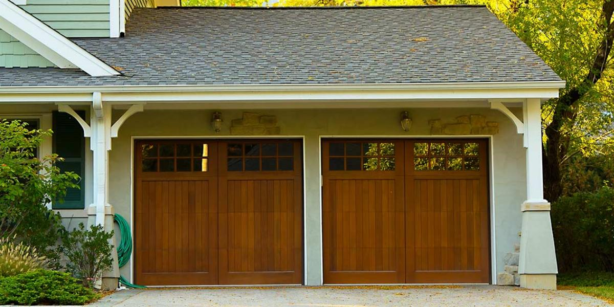 Two-Door Garage Attached to Nice Suburban Home