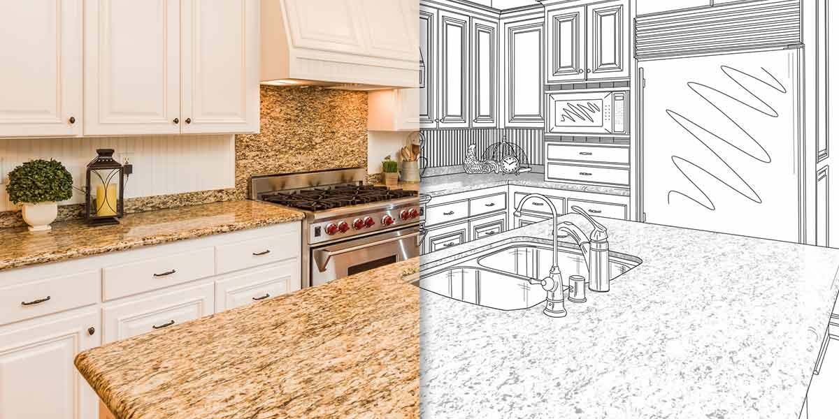 A Rendering of a Kitchen Combined With a Finished Kitchen.