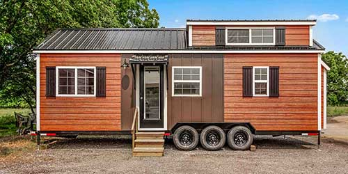 Liberation Tiny Homes exterior of house on wheels.