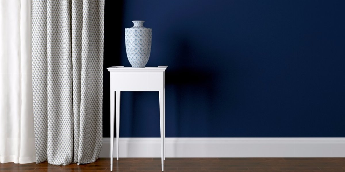 Dark blue living room paint color.