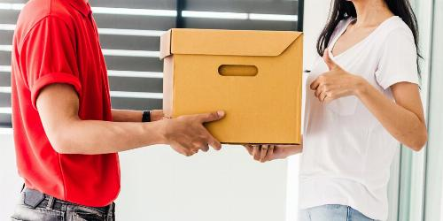 Woman Accepting Delivery Box