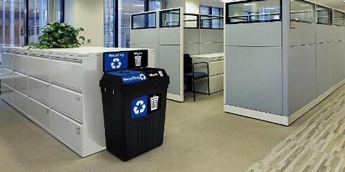 Corporate office with recycling bins.