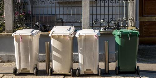 Garbage cans at the curb.