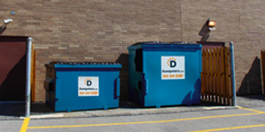 Blue Commercial Dumpsters with the Dumpsters.com Logo