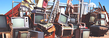 pile of old television sets