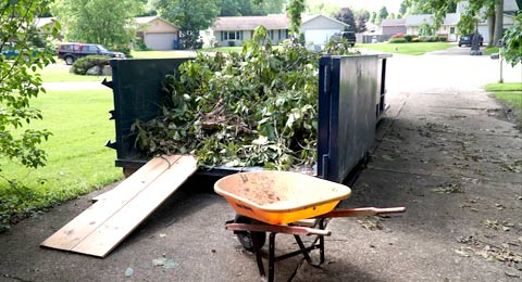 Roll Off Dumpster in Driveway Filled with Branches and Leaves.