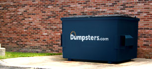 a dumpsters.com garbage dumpster sitting in front of a brick wall