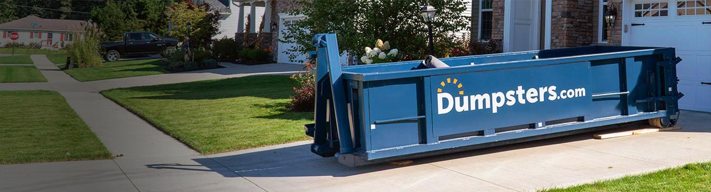 15 yard dumpster in residential driveway