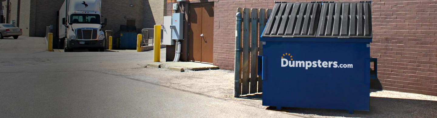Blue 6 Yard Dumpster With a Dumpsters.com Logo