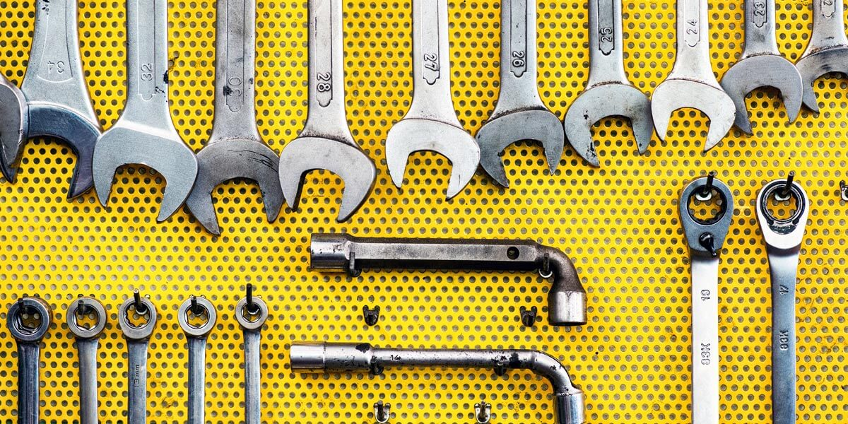 Tools Organized on a Pegboard
